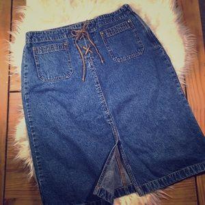 Vintage Knee Length Jean Skirt